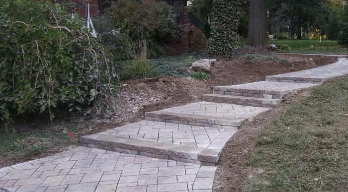 Paved Stone Entry Walkway with Stairs | Landscape Design | Omaha Nebraska