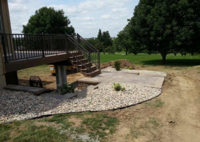 """Custom Stair Case with 3"""" River Rock Landscaping"""