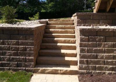 Retaining Wall with Stone Stairs