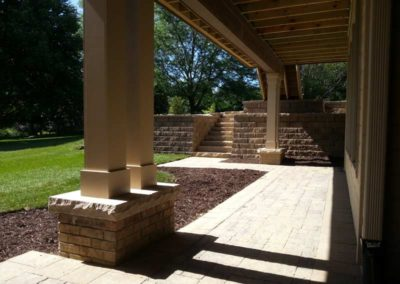 Paved Patio with Column Supports