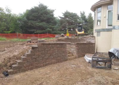 Retaining Wall Construction with Custom Deck
